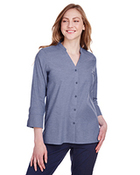 Ladies' Crown Collection™ Stretch Pinpoint Chambray 3/4 Sleeve Blouse