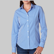 Ladies' Long-Sleeve Yarn-Dyed Gingham Check