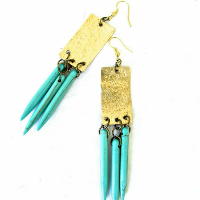 Hammered Brass Drop Earrings with Turquoise Stone